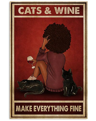 Afro Girl Cats And Wine