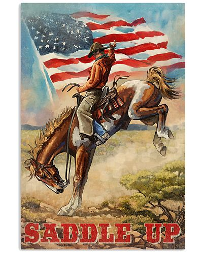 Cowboy Saddle Up American Flag