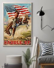 Cowboy Saddle Up American Flag 24x36 Poster lifestyle-poster-1