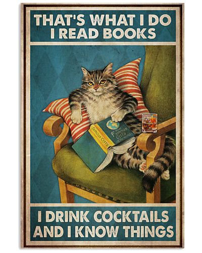 Cat Read Books Drink Cocktail-R
