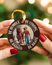 Farm Girl Be Badass Circle ornament - single (porcelain) aos-circle-ornament-single-porcelain-lifestyles-08