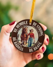 Farm Girl Be Badass Circle ornament - single (porcelain) aos-circle-ornament-single-porcelain-lifestyles-09
