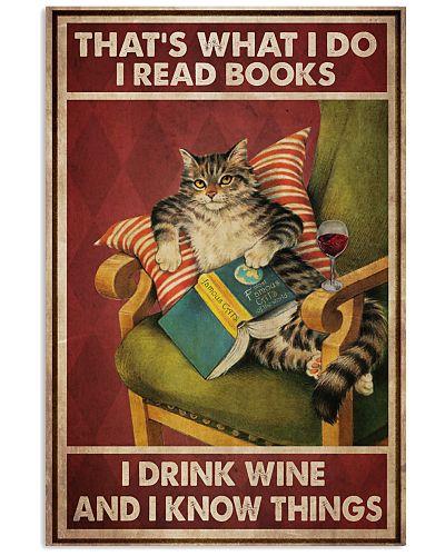 Cat Read Books Drink Wine
