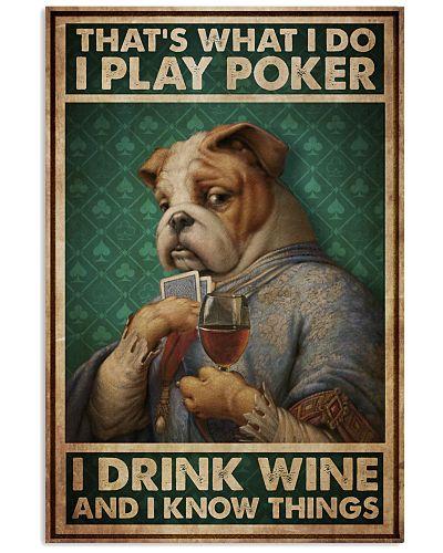 Bulldog Play Poker Drink Wine Know Things