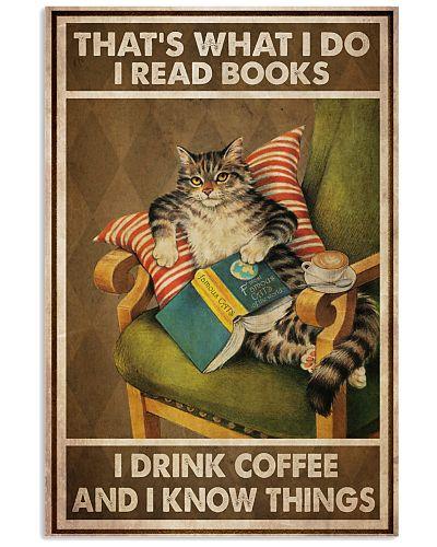 Cat Read Books Drink Coffee-R