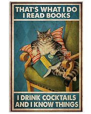 Cat Read Books Drink Cocktail 24x36 Poster front