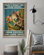Cat Read Books Drink Cocktail 24x36 Poster lifestyle-poster-1