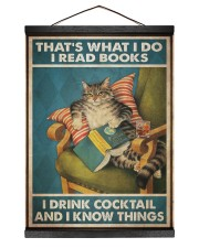 Cat Read Books Drink Cocktail 12x16 Black Hanging Canvas thumbnail