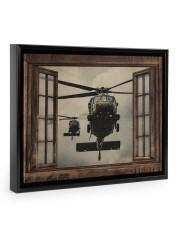 Helicopter Window Floating Framed Canvas Prints Black tile