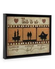 Fishing Couple Film Strip Floating Framed Canvas Prints Black tile