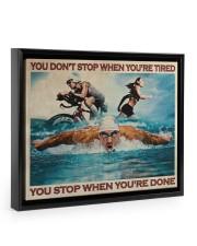 Triathlon You Stop When You're Done Floating Framed Canvas Prints Black tile