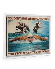 Triathlon You Stop When You're Done Floating Framed Canvas Prints White tile