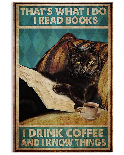 Black Cat Read Books Drink Coffee
