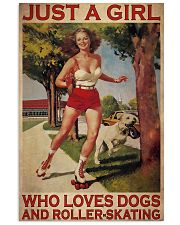 Girl Loves Roller-skating And Dogs Vertical Poster tile