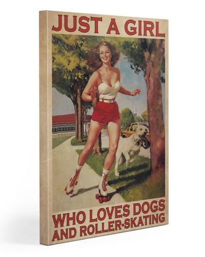 Girl Loves Roller-skating And Dogs