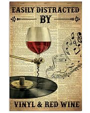 Distracted By Vinyl And Red Wine 24x36 Poster front