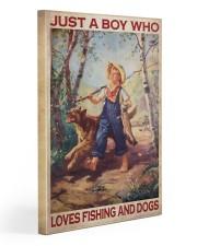Boy Fishing Dog 2 20x30 Gallery Wrapped Canvas Prints thumbnail