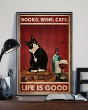 Books Wine Cats Life Is Good 24x36 Poster lifestyle-poster-2