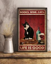 Books Wine Cats Life Is Good 24x36 Poster lifestyle-poster-3