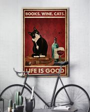 Books Wine Cats Life Is Good 24x36 Poster lifestyle-poster-7