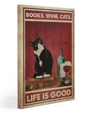 Books Wine Cats Life Is Good 20x30 Gallery Wrapped Canvas Prints thumbnail