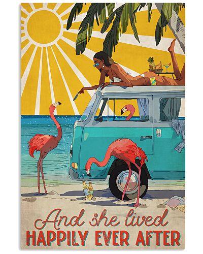 Beach And Flamingo And She Lived