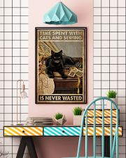 Sewing and Cats Never Wasted 24x36 Poster lifestyle-poster-6