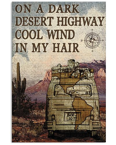 Campervan On A Dark Desert Highway