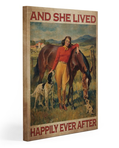 Girl And Horse Live Happily Canvas-R