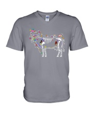 Cow -Day of The Dead V-Neck T-Shirt thumbnail