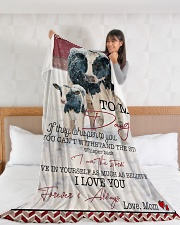 "Cow To My Daughter  Large Fleece Blanket - 60"" x 80"" aos-coral-fleece-blanket-60x80-lifestyle-front-11"