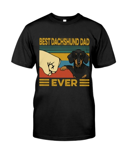 Best Dachshund Black Dad Vintage