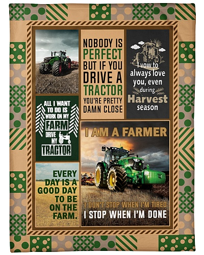 Tractor Funny Blanket Nobody Is Graphic Design