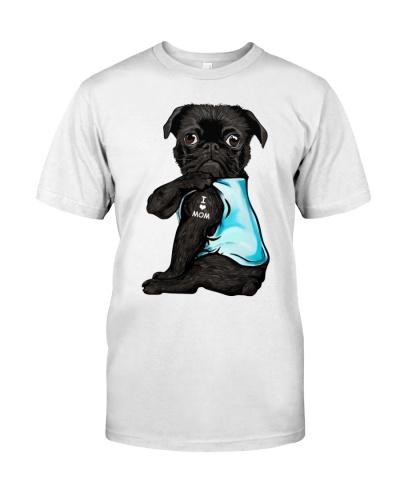 Black Pug I Love Mom