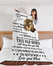 """Horse To My Daughter Mom Graphic Design Large Fleece Blanket - 60"""" x 80"""" aos-coral-fleece-blanket-60x80-lifestyle-front-11"""