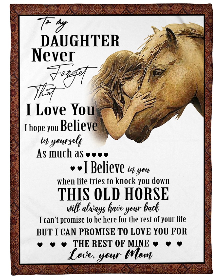 """Horse To My Daughter Mom Graphic Design Large Fleece Blanket - 60"""" x 80"""""""