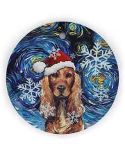 Dachshund Art Starry Night Circle ornament - single (wood) thumbnail