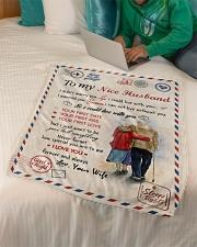 "To My Husband Test Small Fleece Blanket - 30"" x 40"" aos-coral-fleece-blanket-30x40-lifestyle-front-07"