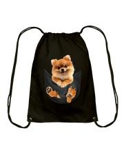 Pomeranian In Pocket Drawstring Bag thumbnail