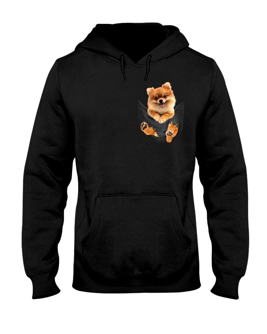 Pomeranian In Pocket Hooded Sweatshirt