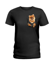 Pomeranian In Pocket Ladies T-Shirt thumbnail