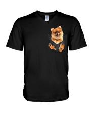 Pomeranian In Pocket V-Neck T-Shirt thumbnail