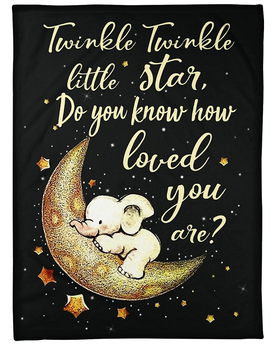 "Elephant Funny Twinkle Little Star Graphic Design Large Fleece Blanket - 60"" x 80"""