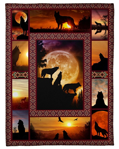 Wolf Funny Blanket Sunset Graphic Design
