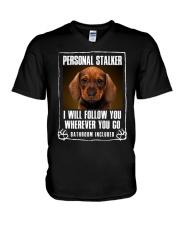 Dachshund Will Follow You V-Neck T-Shirt thumbnail