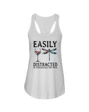 Easily Distracted By Dragonflies And Wine Ladies Flowy Tank thumbnail