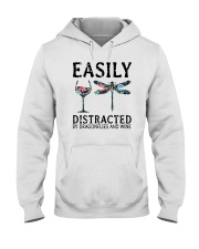Easily Distracted By Dragonflies And Wine Hooded Sweatshirt thumbnail