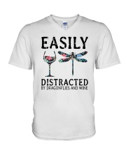 Easily Distracted By Dragonflies And Wine V-Neck T-Shirt thumbnail