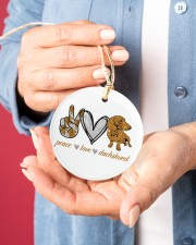 Dachshund Peace Love Circle ornament - single (porcelain) aos-circle-ornament-single-porcelain-lifestyles-01