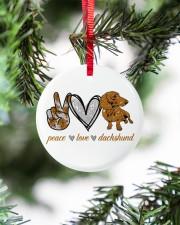 Dachshund Peace Love Circle ornament - single (porcelain) aos-circle-ornament-single-porcelain-lifestyles-07